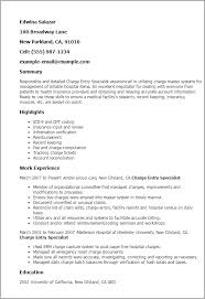 Charge Entry Specialist Sample Resume Professional Charge Entry Specialist Templates to Showcase Your 2