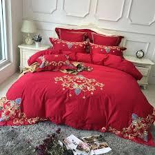 king duvet sets luxury wedding bedding set cotton red color bed set duvet cover bed sheet