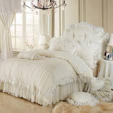 whole luxury lace ruffle bedding set twin queen king cotton girl french princess wedding home textile bedspread quilt cover cover jar textile services