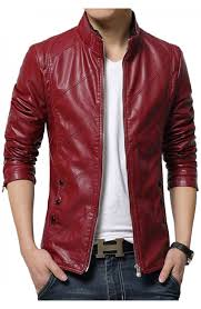 casual style men s slim fit red faux leather jacket