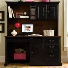 Furniture: Fascinating Black Computer Desk With Hutch Featuring File  Drawers And Bookshelf - L Computer