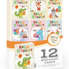 12 X Kids Animal Fun Birthday Card Pack With Envelopes