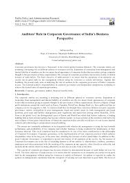 auditors role in corporate governance of s business perspective public policy and administration research