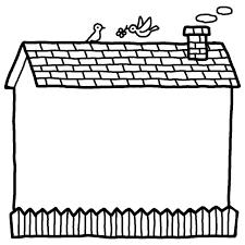 家白黒建物枠ふきだし無料イラスト素材