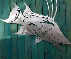 >metal gamefish artist reveals works salt life hog fish metal fish  salt life hog fish metal fish art wall art fish mount sculpture nautical beach house decor ocean art fish wall art