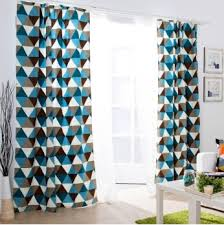 Geometric Pattern Curtains Best Chic Cotton Special Imaged Blue Print Curtains