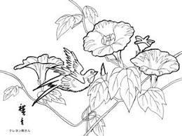 朝顔と鳥の塗り絵 季節の花四季の花の大人の塗り絵
