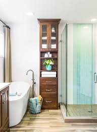 Bathroom Cabinets South Africa With Transitional Accent Tile Strip