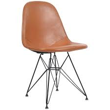 vintage eames dkr 1 wire chair with leather seat on eiffel frame circa 1950s