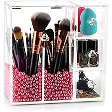 Makeup Brush Holder, HBlife Acrylic Makeup Organizer with 2 Brush Holders  and 3 Drawers Dustproof