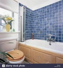 Kleine Weiße Wirtschaft Stil Badezimmer Mit Blauen Wandfliesen über