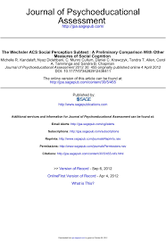 The Wechsler Acs Social Perception Subtest Center For Pages 1