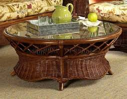 eastwind rattan coffee table with glass