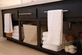 Open Shelf Vanity Bathroom Black Polished Solid Wood Bathroom Vanity With Three Section Open