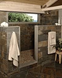 Bathroom: Cutting Fieldstone Bathroom Wall_pine Wood Ceiling_stone Tile  Floor_light Wood Stool - Cream Marble Tile