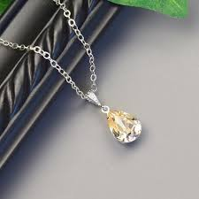 golden champagne necklace swarovski crystal teardrop pendant necklace silver champagne bridesmaid necklace wedding jewelry bridal