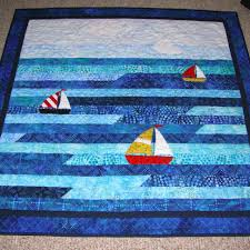 Sailboat Jellyroll Baby Quilt | Quiltsby.me & Sailboat Jellyroll Baby Quilt Adamdwight.com