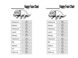 Dinosaur Happy Face Behavior Chart