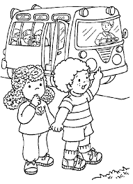 Small Picture Girl and boy waiting for the bus coloring page