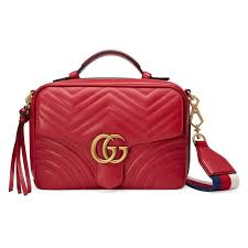 gucci gg marmont leather shoulder bag in red