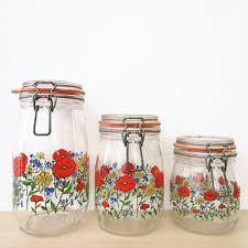 vintage bright fl canister set arc of france glass by hemlines