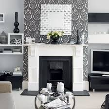 inexpensive fireplace wall decorating with wall paper