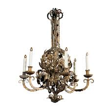 italian flower basket gold painted metal chandelier from the mid 20th century