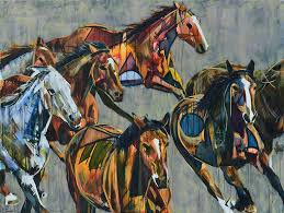 horses running stampede painting abstract animal art for on canvas equestrian modern