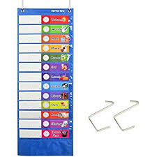 Amazon Com Daily Schedule Pocket Chart Blue Classroom
