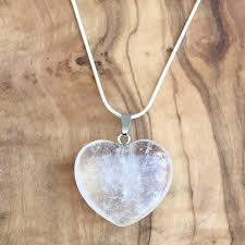 details about clear quartz crystal heart pendant 25mm with 20 silver necklace focus clarity