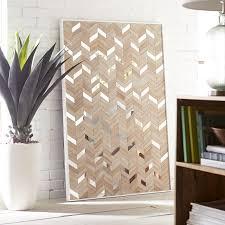 4ft chevron wood and mirror wall art panel