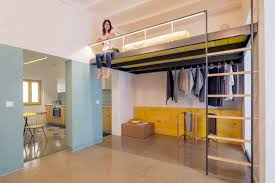 Loft bed is a good option for rooms with high ceilings G-ROC apartment in