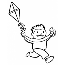 Disegno Di Bambino Con Aquilone Da Colorare Per Bambini