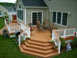 Exterior:Comfortable Backyard Deck Ideas With Railing Fence Designs Also  Outdoor Iron Grilled Plus Outdoor