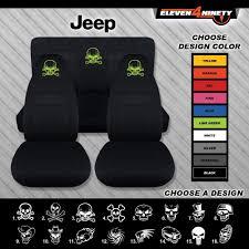 1987 1995 jeep wrangler solid black seat covers w custom skull designs colors