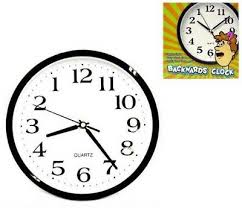 new backwards wall clock funny novelty