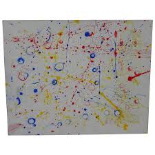 contemporary abstract drip painting in style of sam francis jon berg fine artore ruby lane