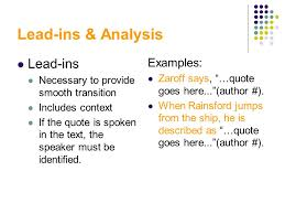 Lead Ins For Quotes Stunning Writing Strong Paragraphs The Significant Parts Of An Essay Ppt
