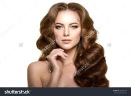 Hairstyles Female Hair Loss Model Long Hair Waves Curls Hairstyle Stock Photo 329920145