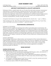 Aircraft Maintenance and Quality Assurance Resume Free Resume Templates