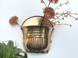vintage brass wall pocket planter