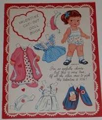vtg uncut valentine paper doll card 4 pages each w dolls and own clothing