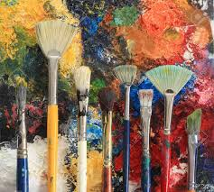 artist brushes on an oil painting background stock photo 8611360