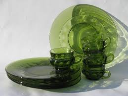 retro vintage green glass snack sets kings crown pattern round plates cups