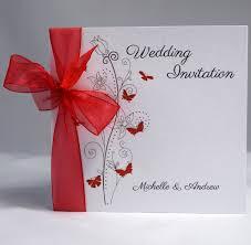 Butterfly Wedding Invitation Sidefold Organza Ribbon