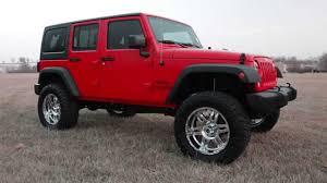 2018 jeep wrangler sport flame red 4 5 lift 24 wheels 35 tires custom tint chrome wheels you
