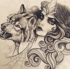 эскиз татуировки с лесной ведьмой и волком Thigs To Draw