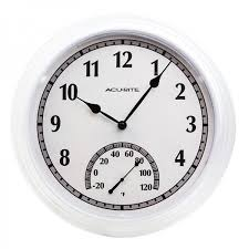white outdoor clock with temperature