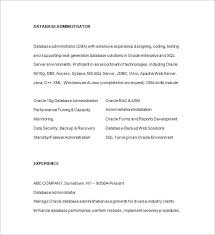 Database Administrator Resume Format