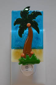 Palm Tree Night Light Palm Tree Fused Glass Night Light By Mcbglassstudio On Etsy